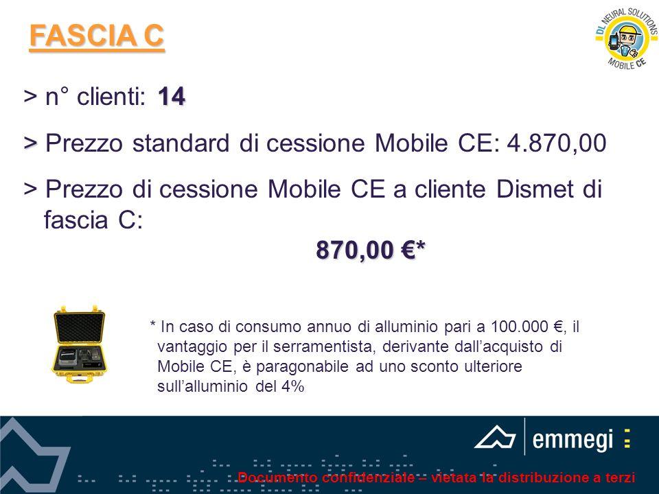 FASCIA C 14 > n° clienti: 14 > > Prezzo standard di cessione Mobile CE: 4.870,00 > Prezzo di cessione Mobile CE a cliente Dismet di fascia C: 870,00 *