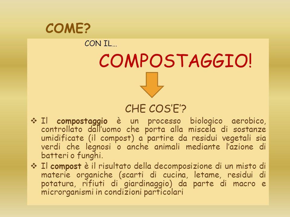 COME? CON IL… COMPOSTAGGIO! CHE COSE? Il compostaggio è un processo biologico aerobico, controllato dalluomo che porta alla miscela di sostanze umidif