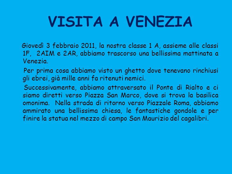 VISITA A VENEZIA Giovedì 3 febbraio 2011, la nostra classe 1 A, assieme alle classi 1F, 2AIM e 2AR, abbiamo trascorso una bellissima mattinata a Venez