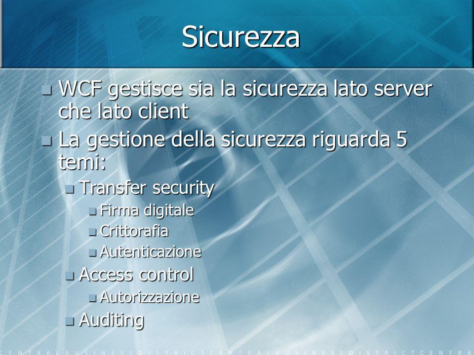 Sicurezza WCF gestisce sia la sicurezza lato server che lato client WCF gestisce sia la sicurezza lato server che lato client La gestione della sicure