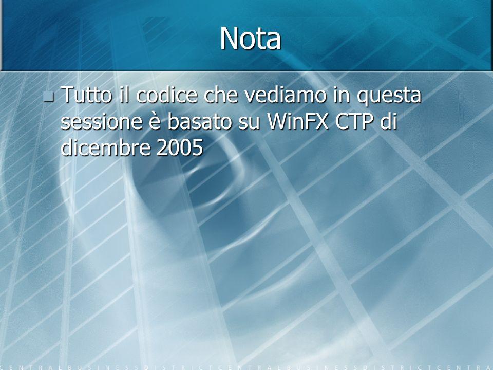 Nota Tutto il codice che vediamo in questa sessione è basato su WinFX CTP di dicembre 2005 Tutto il codice che vediamo in questa sessione è basato su