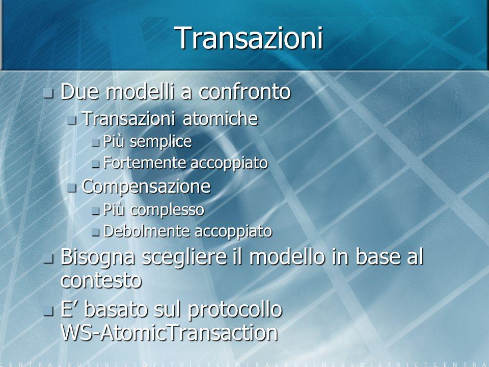 Transazioni Due modelli a confronto Due modelli a confronto Transazioni atomiche Transazioni atomiche Più semplice Più semplice Fortemente accoppiato