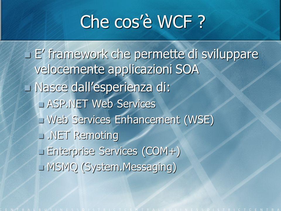 Integrazione WCF è integrabile bidirezionalmente con: WCF è integrabile bidirezionalmente con: MSMQ MSMQ ASP.NET XML web services ASP.NET XML web services Enterprise Services (COM+) Enterprise Services (COM+) E fondamentale definire in modo corretto il binding ed il modello di serializzazione E fondamentale definire in modo corretto il binding ed il modello di serializzazione Scrivendosi un custom channel è possibile integrarsi con tutto: Scrivendosi un custom channel è possibile integrarsi con tutto:.NET Remoting.NET Remoting Java RMI Java RMI