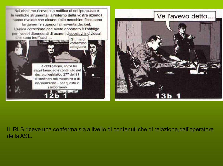 IL RLS riceve una conferma,sia a livello di contenuti che di relazione,dalloperatore della ASL.