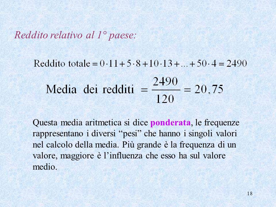 17 Vogliamo calcolare dei valori numerici che siano indicativi del grado di ricchezza/povertà della popolazione del paese considerato. Gli indici più