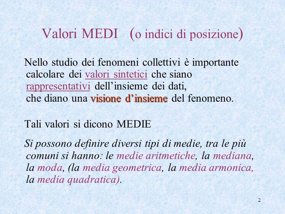 1 Elementi di Statistica descrittiva Lez. 2 - Misure di tendenza centrale - le Medie - la Moda - la Mediana ____________________ Anno scolastico 2012/