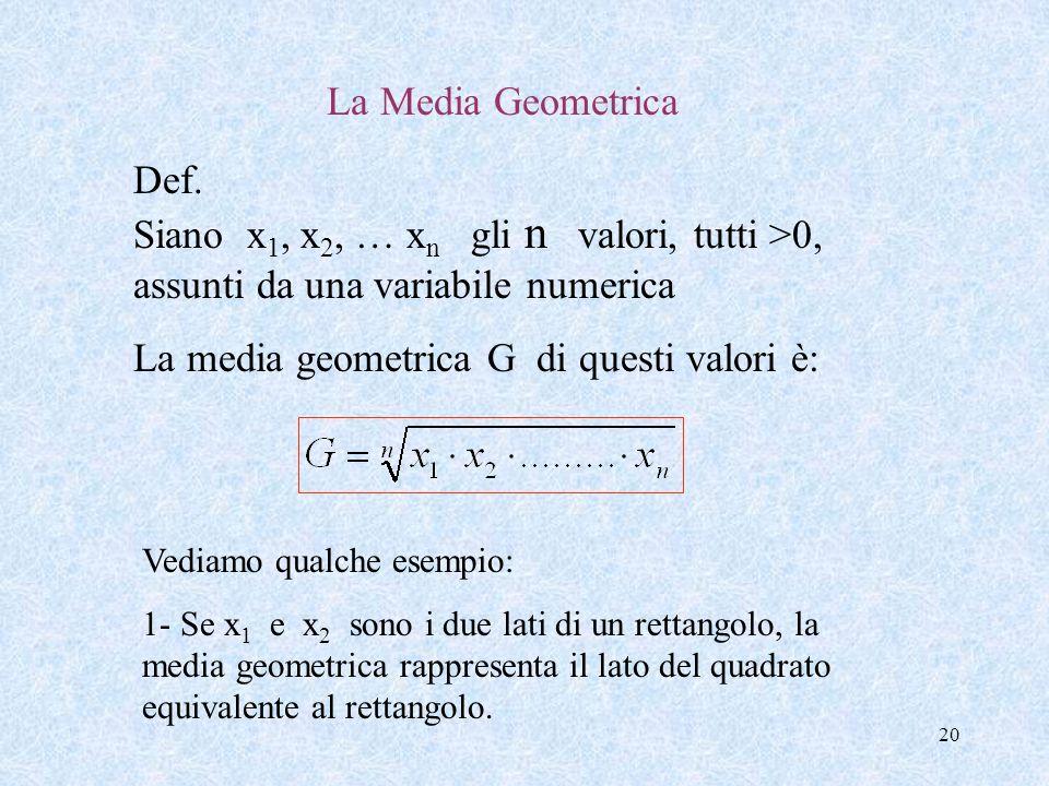 19 In particolare se gli n dati numerici sono tali che: il dato x 1 compare f 1 volte, x 2 f 2 volte,…. x k f k volte, la Media Aritmetica ponderata)