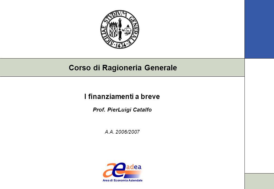 Corso di Ragioneria Generale I finanziamenti a breve Prof. PierLuigi Catalfo A.A. 2006/2007