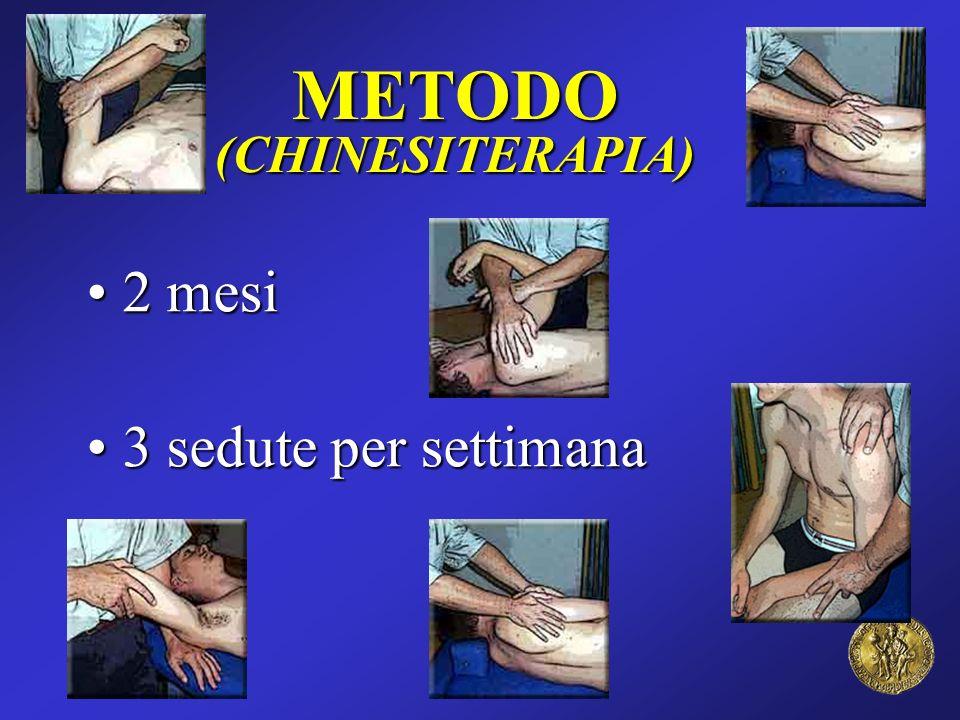 METODO(CHINESITERAPIA) 2 mesi 2 mesi 3 sedute per settimana 3 sedute per settimana