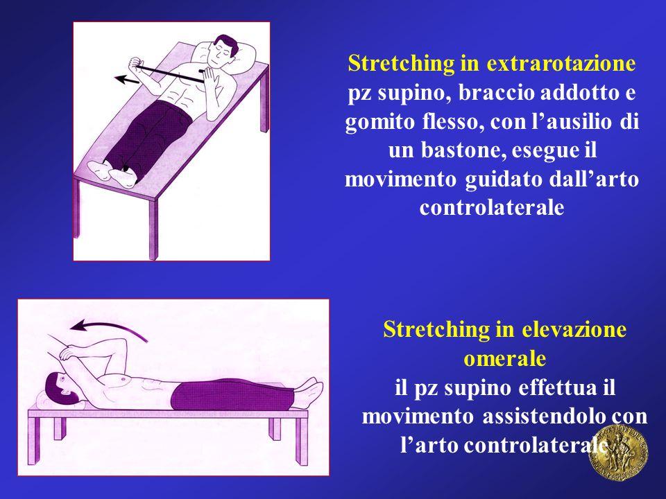 Stretching in elevazione omerale il pz supino effettua il movimento assistendolo con larto controlaterale Stretching in extrarotazione pz supino, brac