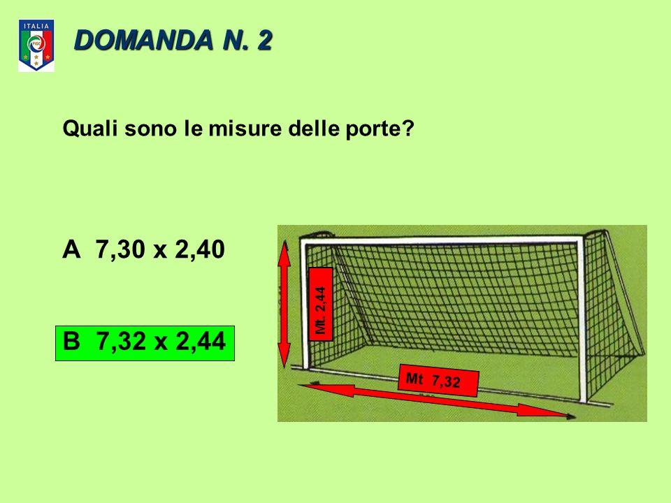 DOMANDA N. 1 Larco dangolo tracciato dalla bandierina allinterno del terreno di gioco ha un raggio di …. AUn metro. BUn metro e mezzo m. 1