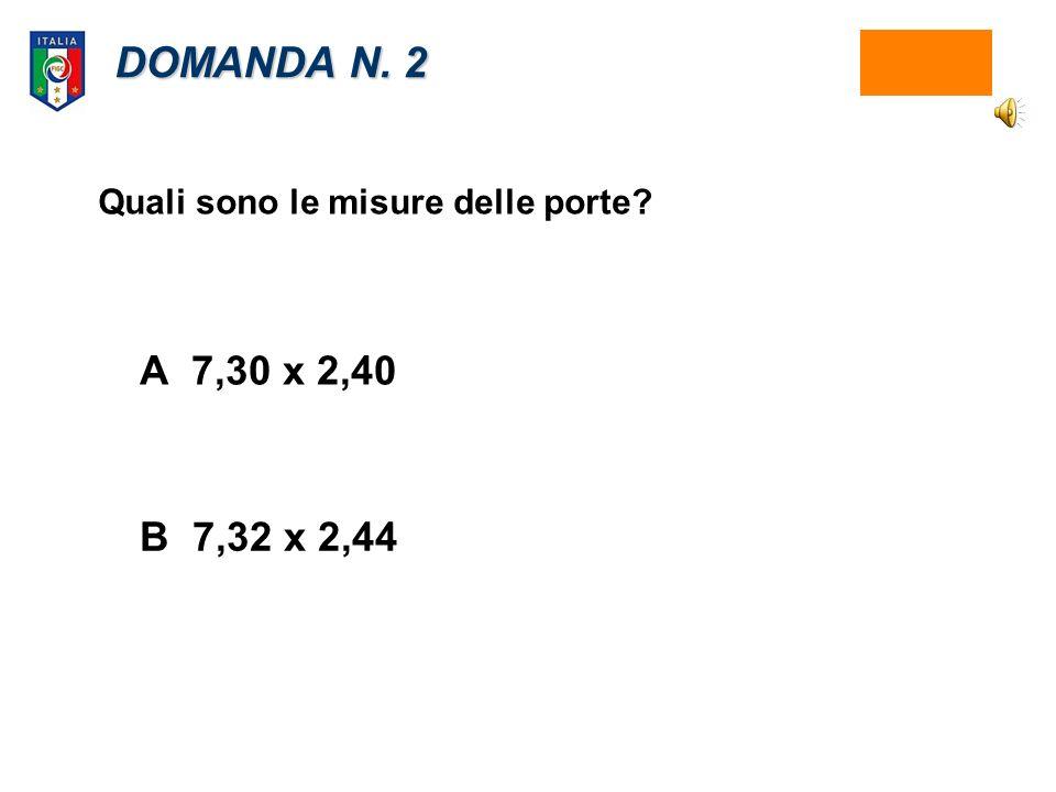 DOMANDA N. 2 A7,30 x 2,40 B 7,32 x 2,44 Quali sono le misure delle porte?