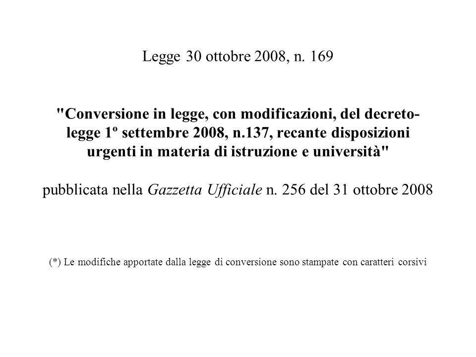 Legge 30 ottobre 2008, n. 169