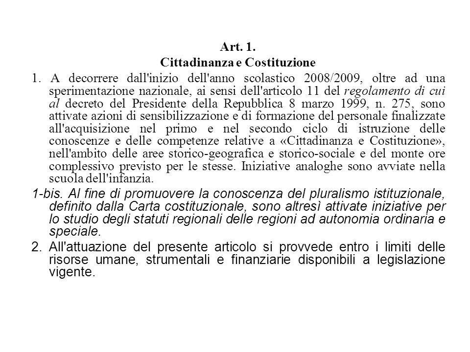 Art. 1. Cittadinanza e Costituzione 1. A decorrere dall'inizio dell'anno scolastico 2008/2009, oltre ad una sperimentazione nazionale, ai sensi dell'a