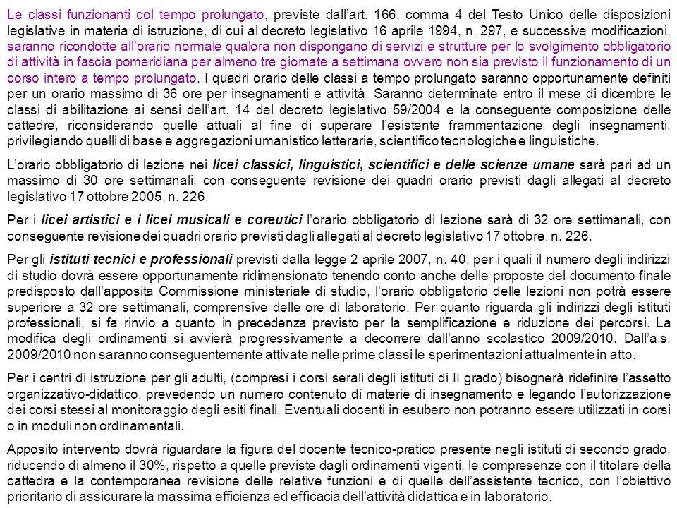 Le classi funzionanti col tempo prolungato, previste dallart. 166, comma 4 del Testo Unico delle disposizioni legislative in materia di istruzione, di