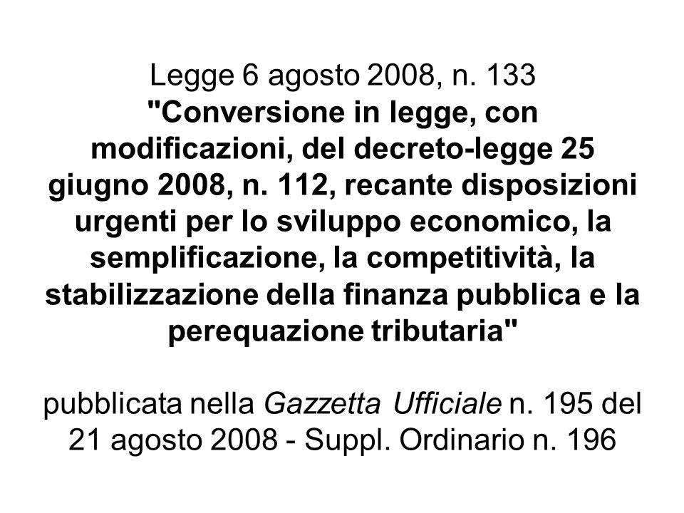 Legge 6 agosto 2008, n. 133