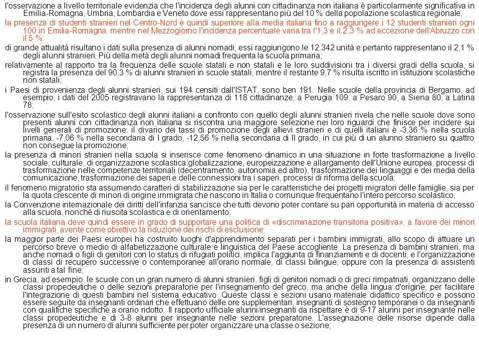 l'osservazione a livello territoriale evidenzia che l'incidenza degli alunni con cittadinanza non italiana è particolarmente significativa in Emilia-R