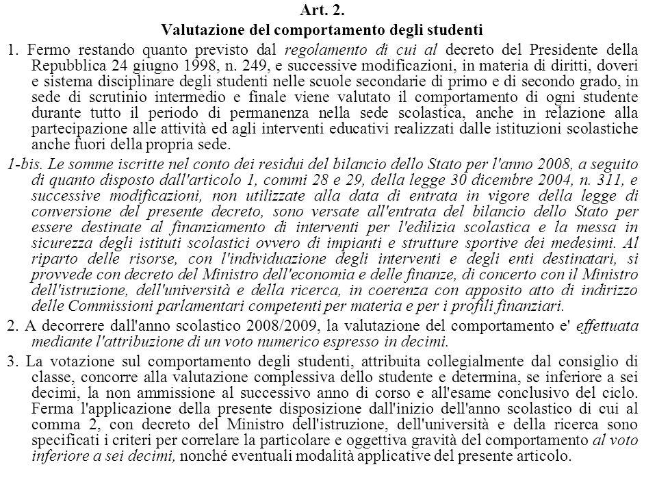 Art. 2. Valutazione del comportamento degli studenti 1. Fermo restando quanto previsto dal regolamento di cui al decreto del Presidente della Repubbli
