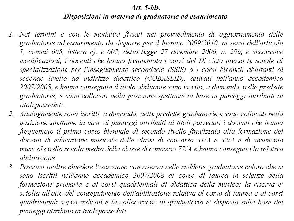 Art. 5-bis. Disposizioni in materia di graduatorie ad esaurimento 1.Nei termini e con le modalità fissati nel provvedimento di aggiornamento delle gra