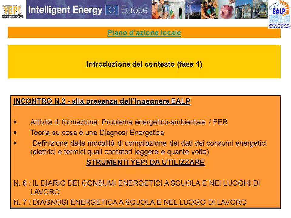 Piano dazione locale INCONTRO N.2 - alla presenza dellIngegnere EALP Attività di formazione: Problema energetico-ambientale / FER Teoria su cosa è una