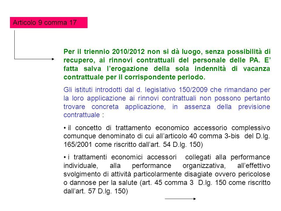 Articolo 9 comma 17 Per il triennio 2010/2012 non si dà luogo, senza possibilità di recupero, ai rinnovi contrattuali del personale delle PA. E fatta