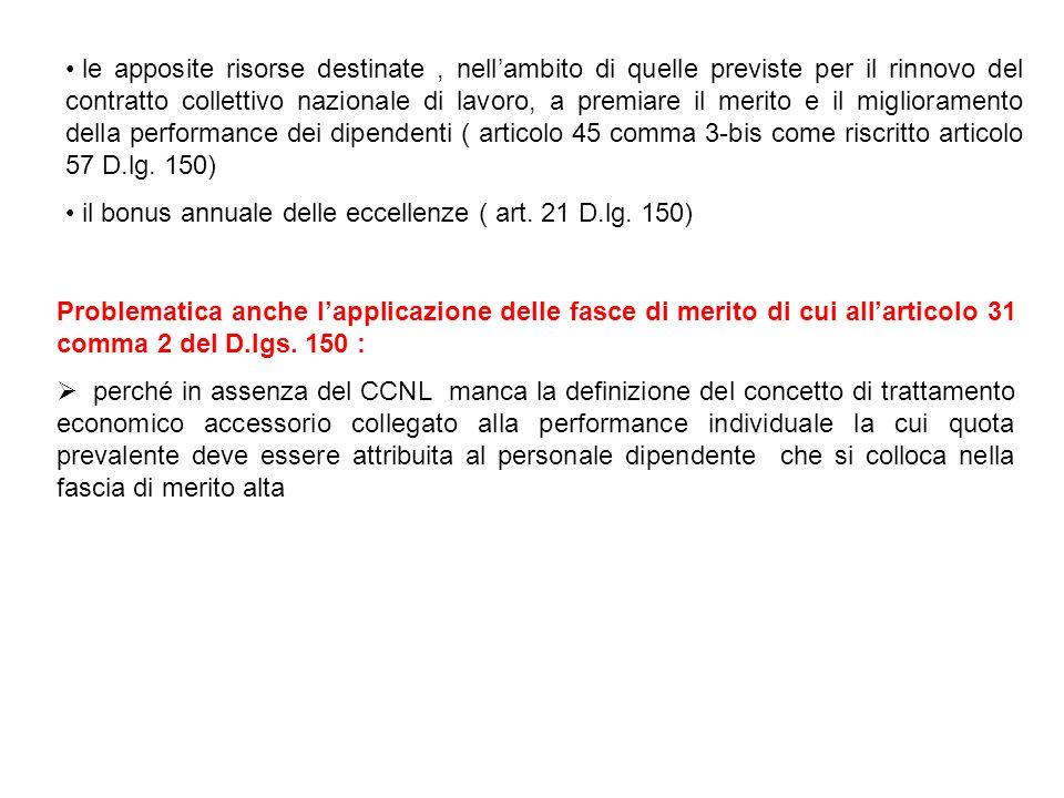 Problematica anche lapplicazione delle fasce di merito di cui allarticolo 31 comma 2 del D.lgs. 150 : perché in assenza del CCNL manca la definizione
