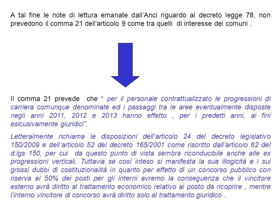 A tal fine le note di lettura emanate dallAnci riguardo al decreto legge 78, non prevedono il comma 21 dellarticolo 9 come tra quelli di interesse dei