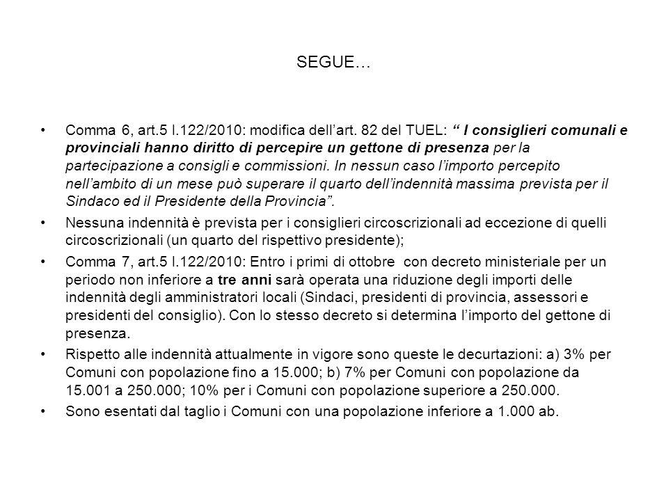 SEGUE… Comma 6, art.5 l.122/2010: modifica dellart. 82 del TUEL: I consiglieri comunali e provinciali hanno diritto di percepire un gettone di presenz