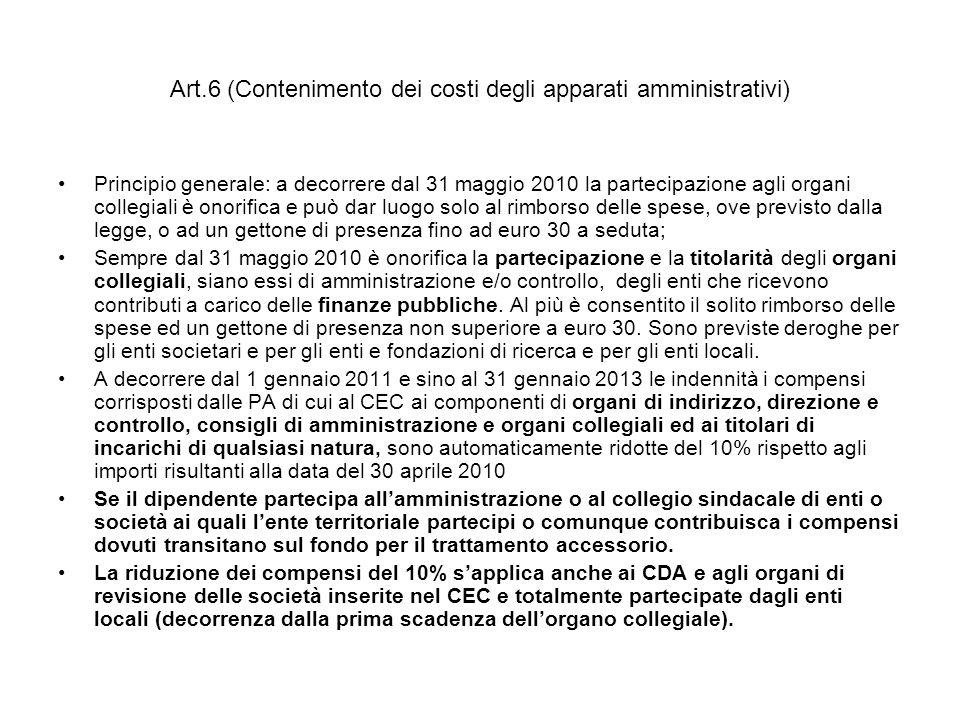 Art.6 (Contenimento dei costi degli apparati amministrativi) Principio generale: a decorrere dal 31 maggio 2010 la partecipazione agli organi collegia