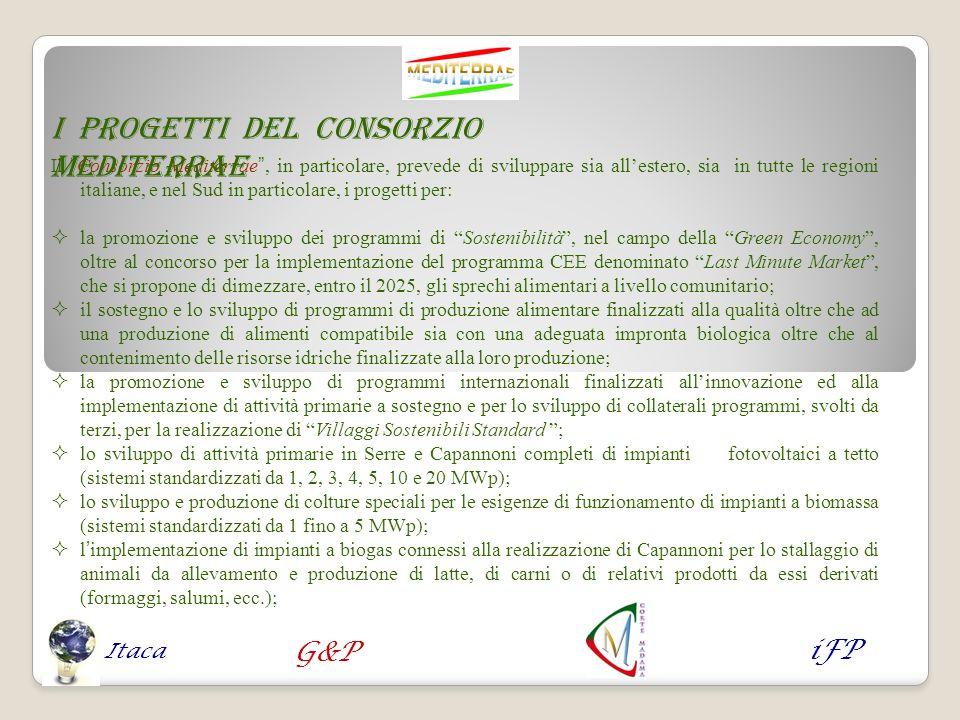 Il Consorzio Mediterrae, in particolare, prevede di sviluppare sia allestero, sia in tutte le regioni italiane, e nel Sud in particolare, i progetti p