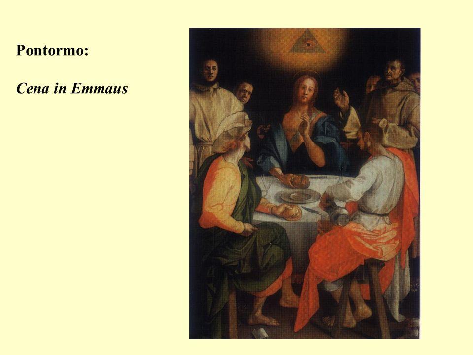 La composizione,perfettamente simmetrica,è organizzata intorno alla figura di Cristo,posto al centro del dipinto.