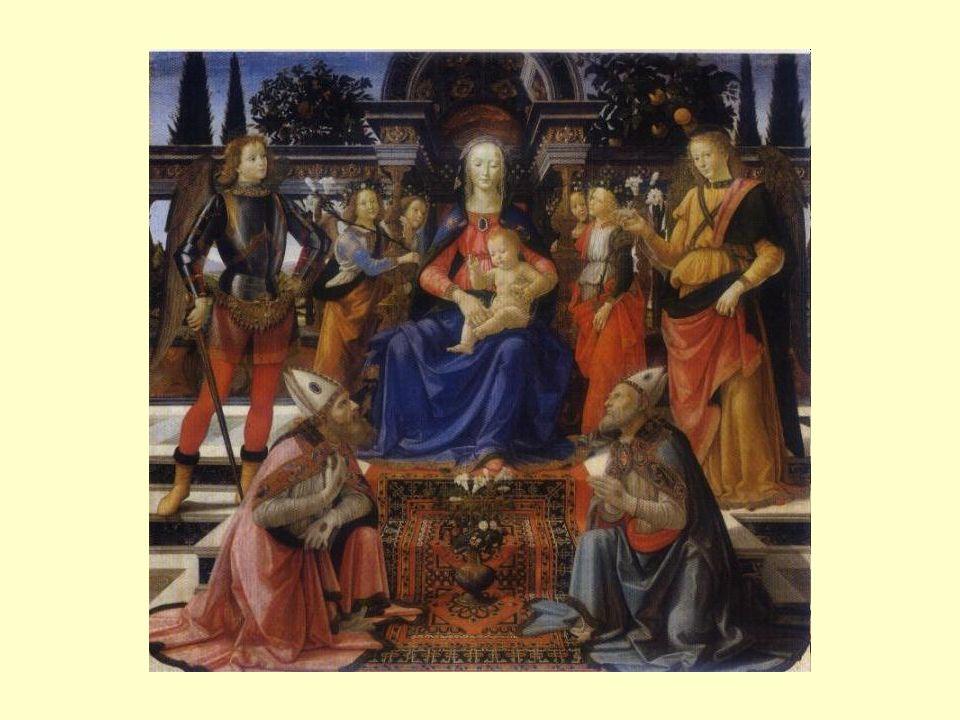 Le due figure di santi inginocchiati in primo piano costitui- scono la base di un triangolo che ha il suo vertice nella testa della Vergine.