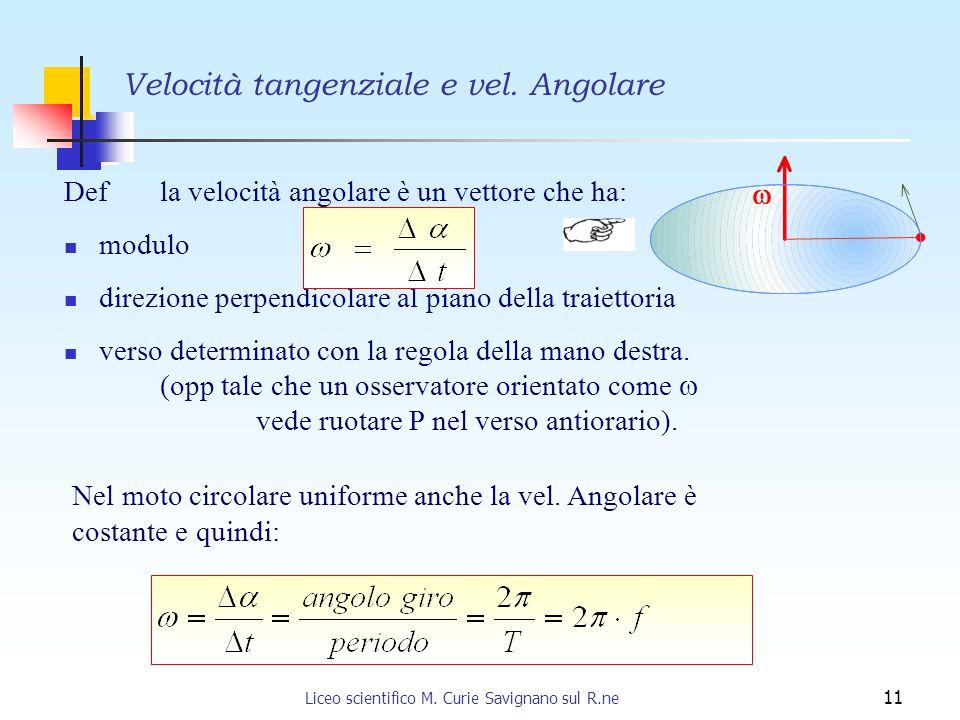 Liceo scientifico M. Curie Savignano sul R.ne 11 Velocità tangenziale e vel. Angolare Def la velocità angolare è un vettore che ha: modulo direzione p