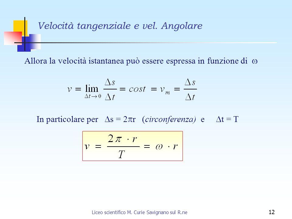 Liceo scientifico M. Curie Savignano sul R.ne 12 Velocità tangenziale e vel. Angolare Allora la velocità istantanea può essere espressa in funzione di