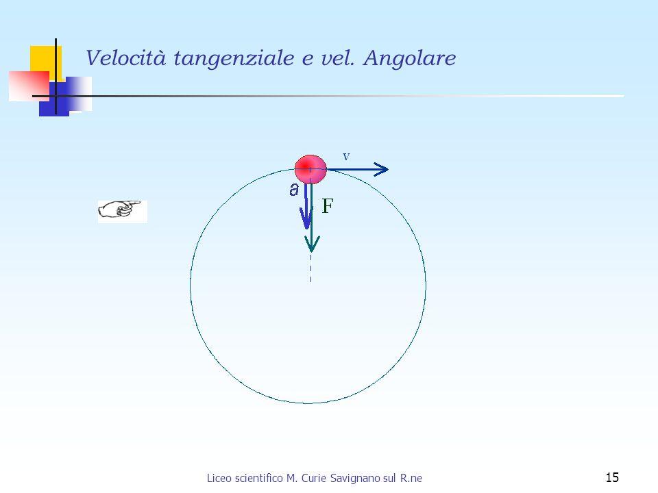 Liceo scientifico M. Curie Savignano sul R.ne 15 Velocità tangenziale e vel. Angolare