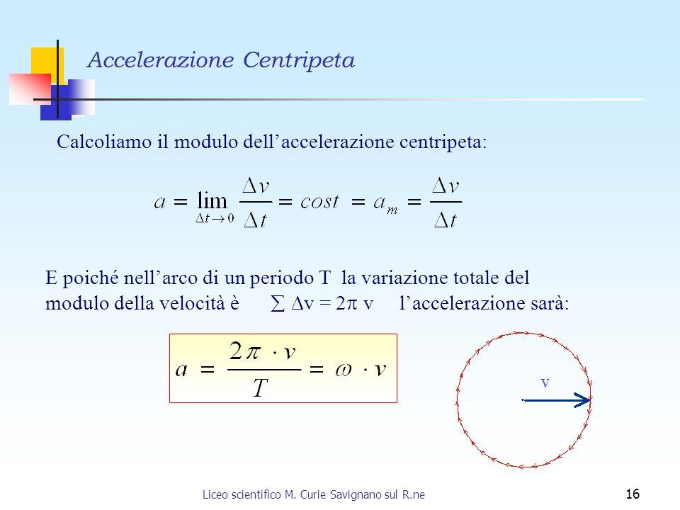 Liceo scientifico M. Curie Savignano sul R.ne 16 Calcoliamo il modulo dellaccelerazione centripeta: E poiché nellarco di un periodo T la variazione to