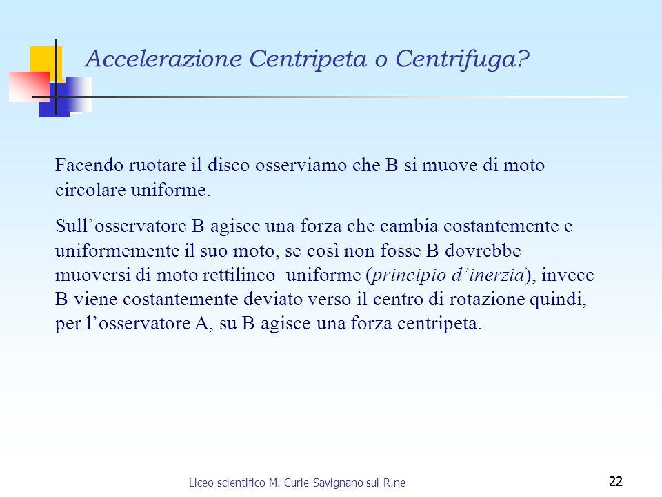 22 Accelerazione Centripeta o Centrifuga? Facendo ruotare il disco osserviamo che B si muove di moto circolare uniforme. Sullosservatore B agisce una