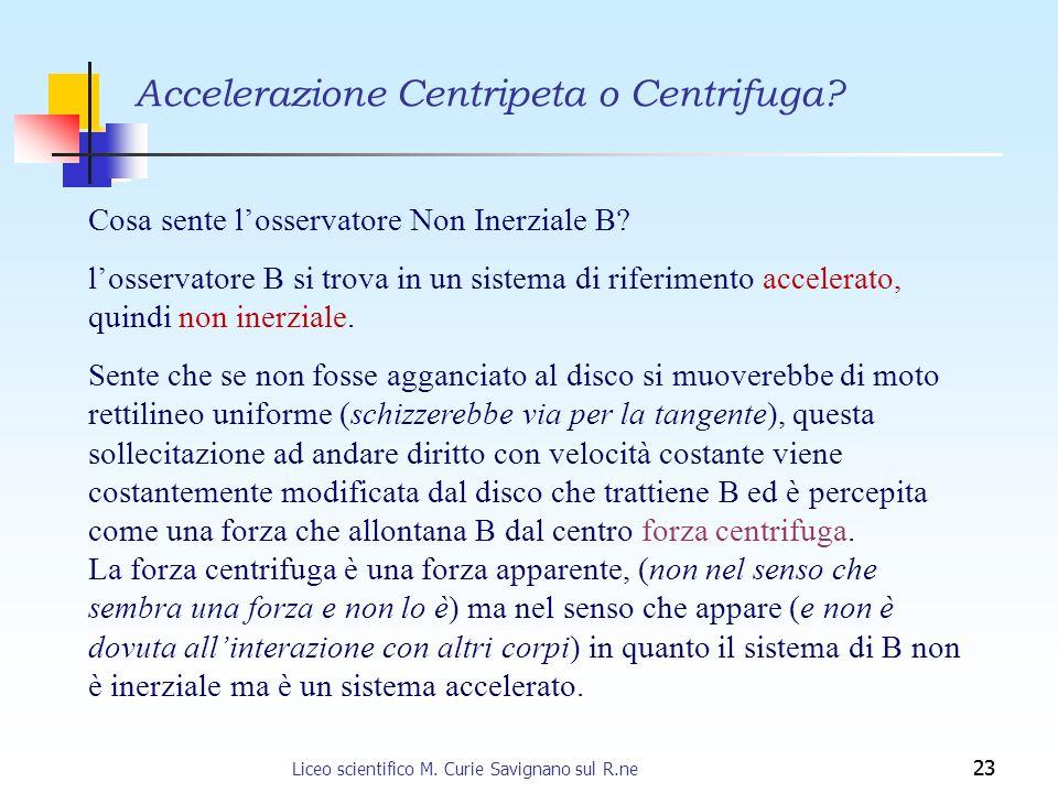 23 Cosa sente losservatore Non Inerziale B? losservatore B si trova in un sistema di riferimento accelerato, quindi non inerziale. Sente che se non fo