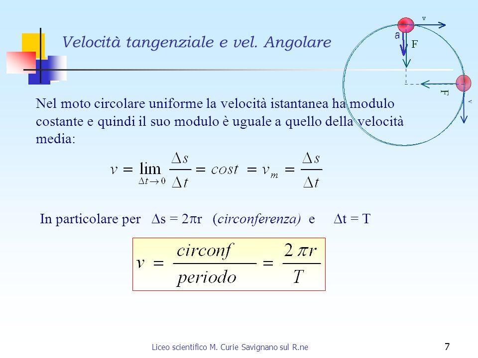 Liceo scientifico M. Curie Savignano sul R.ne 7 Velocità tangenziale e vel. Angolare Nel moto circolare uniforme la velocità istantanea ha modulo cost