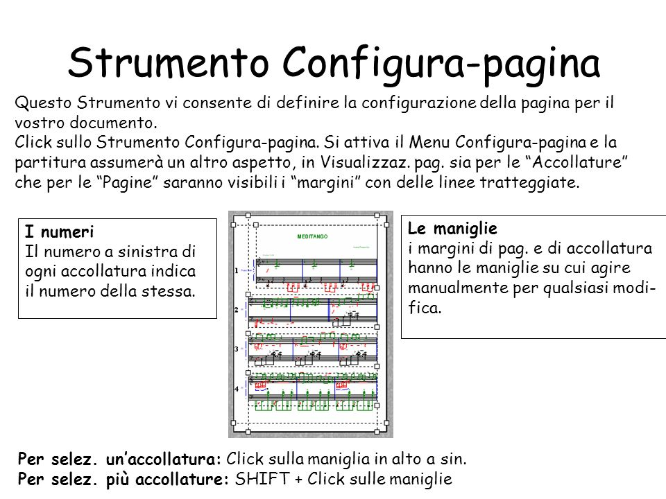 Strumento Configura-pagina Questo Strumento vi consente di definire la configurazione della pagina per il vostro documento. Click sullo Strumento Conf