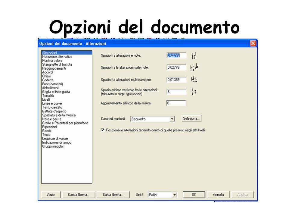 Nella parte sinistra della finestra di dialogo è riportato l elenco delle categorie di elementi della partitura sulle impostazioni dei quali potete intervenire: Selez.