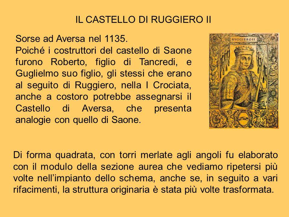 IL CASTELLO DI RUGGIERO II Di forma quadrata, con torri merlate agli angoli fu elaborato con il modulo della sezione aurea che vediamo ripetersi più v