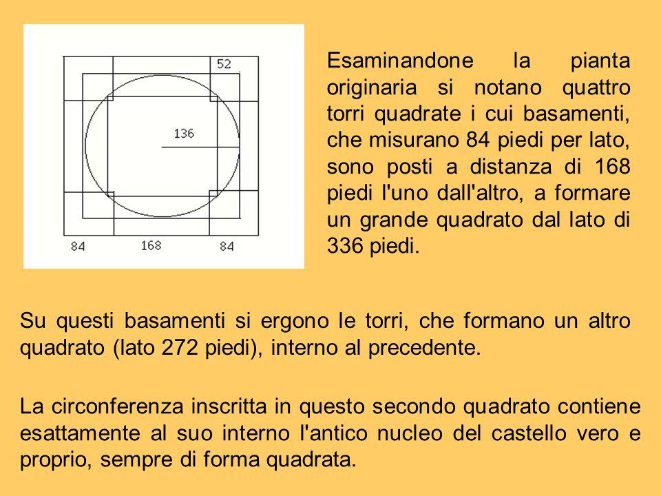 Esaminandone la pianta originaria si notano quattro torri quadrate i cui basamenti, che misurano 84 piedi per lato, sono posti a distanza di 168 piedi