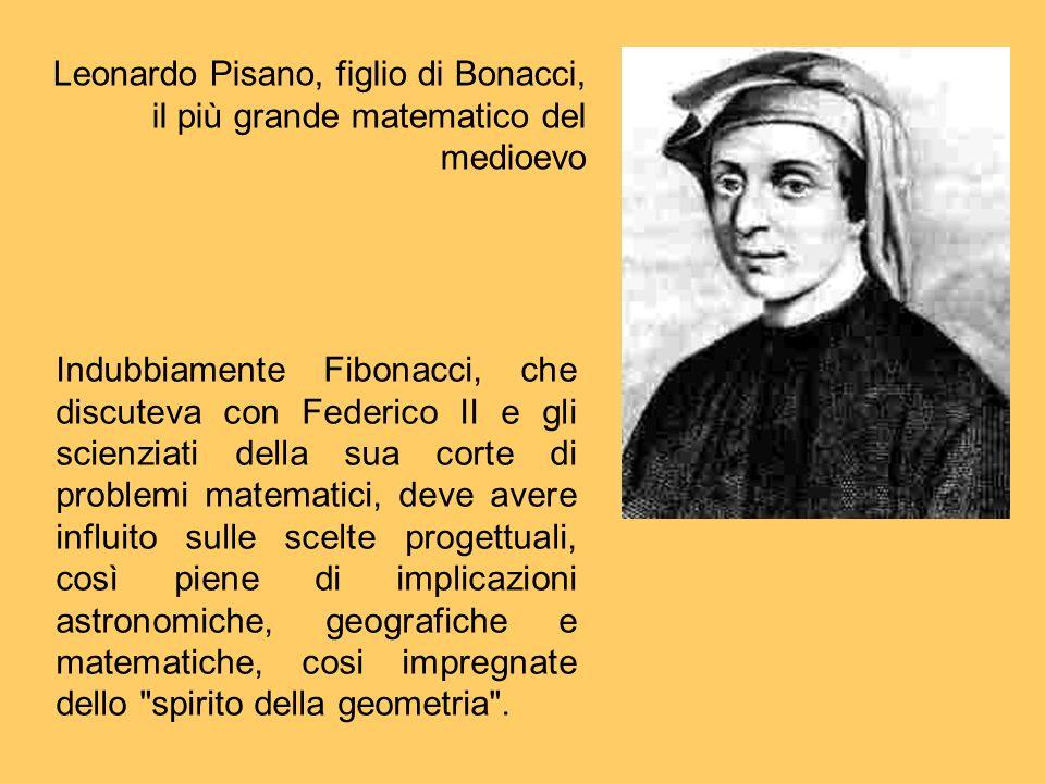 Indubbiamente Fibonacci, che discuteva con Federico II e gli scienziati della sua corte di problemi matematici, deve avere influito sulle scelte proge