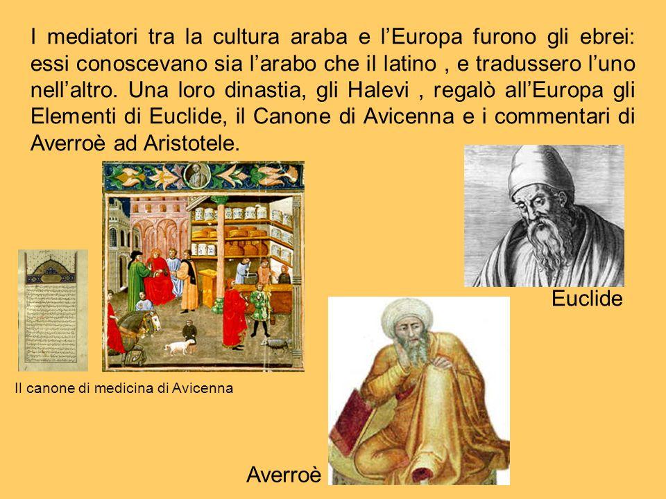 I mediatori tra la cultura araba e lEuropa furono gli ebrei: essi conoscevano sia larabo che il latino, e tradussero luno nellaltro. Una loro dinastia