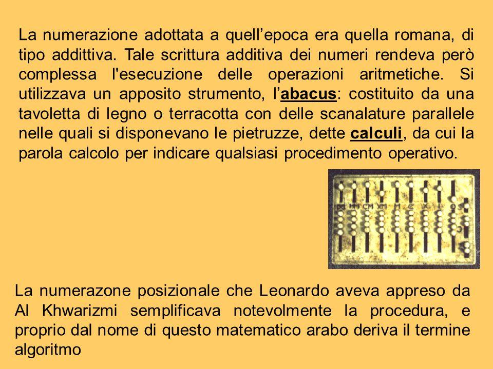 La numerazione adottata a quellepoca era quella romana, di tipo addittiva. Tale scrittura additiva dei numeri rendeva però complessa l'esecuzione dell