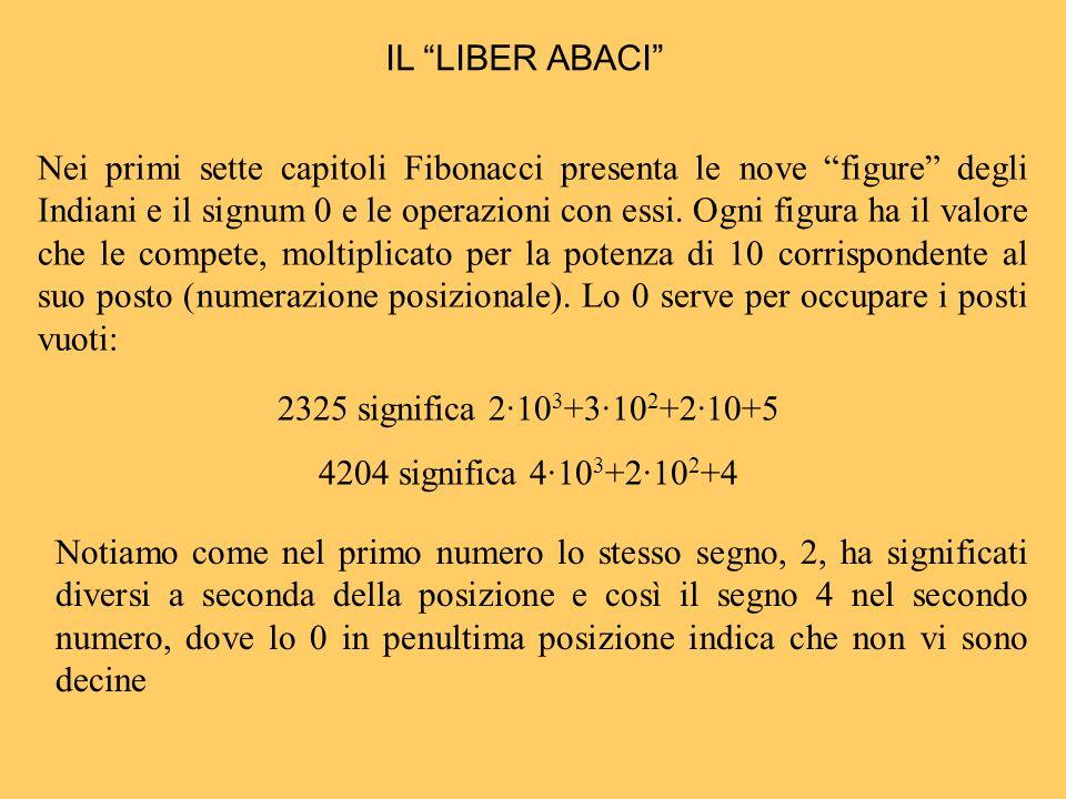 Nei primi sette capitoli Fibonacci presenta le nove figure degli Indiani e il signum 0 e le operazioni con essi. Ogni figura ha il valore che le compe