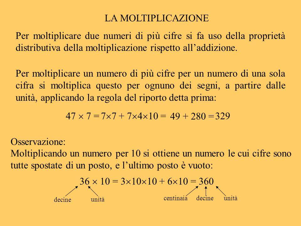 Per moltiplicare un numero di più cifre per un numero di una sola cifra si moltiplica questo per ognuno dei segni, a partire dalle unità, applicando l