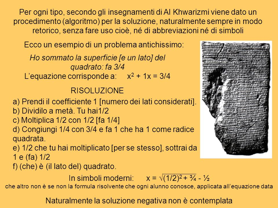 Per ogni tipo, secondo gli insegnamenti di Al Khwarizmi viene dato un procedimento (algoritmo) per la soluzione, naturalmente sempre in modo retorico,