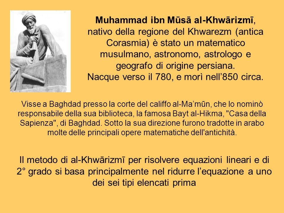 Muhammad ibn Mūsā al-Khwārizmī, nativo della regione del Khwarezm (antica Corasmia) è stato un matematico musulmano, astronomo, astrologo e geografo d